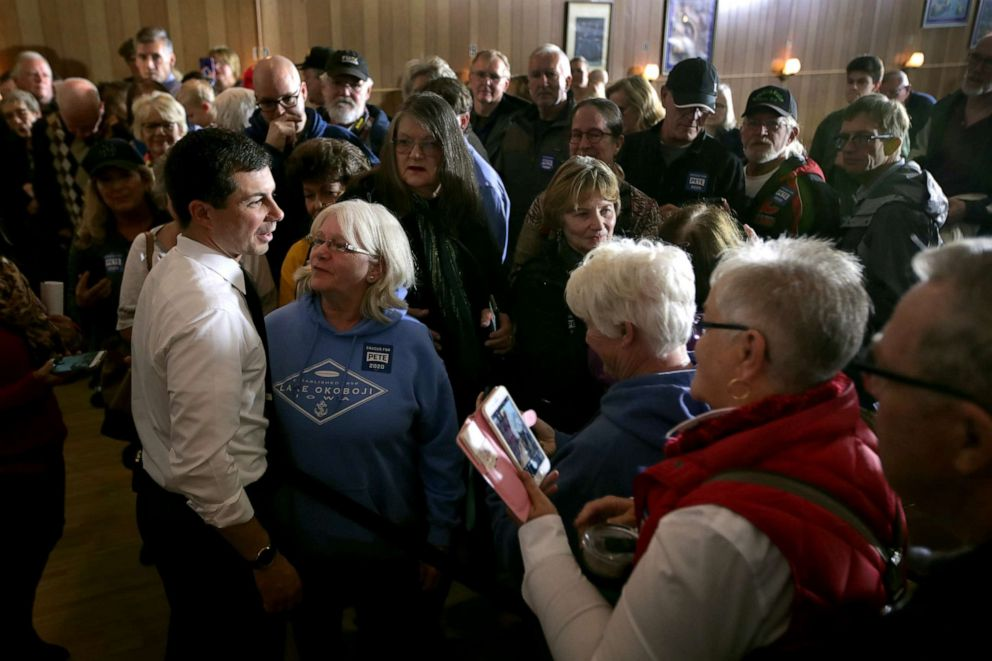 PHOTO: Democratic presidential candidate South Bend, Indiana Mayor Pete Buttigieg speaks to residents during a campaign stop at the VFW club, Nov. 4, 2019, in Algona, Iowa.