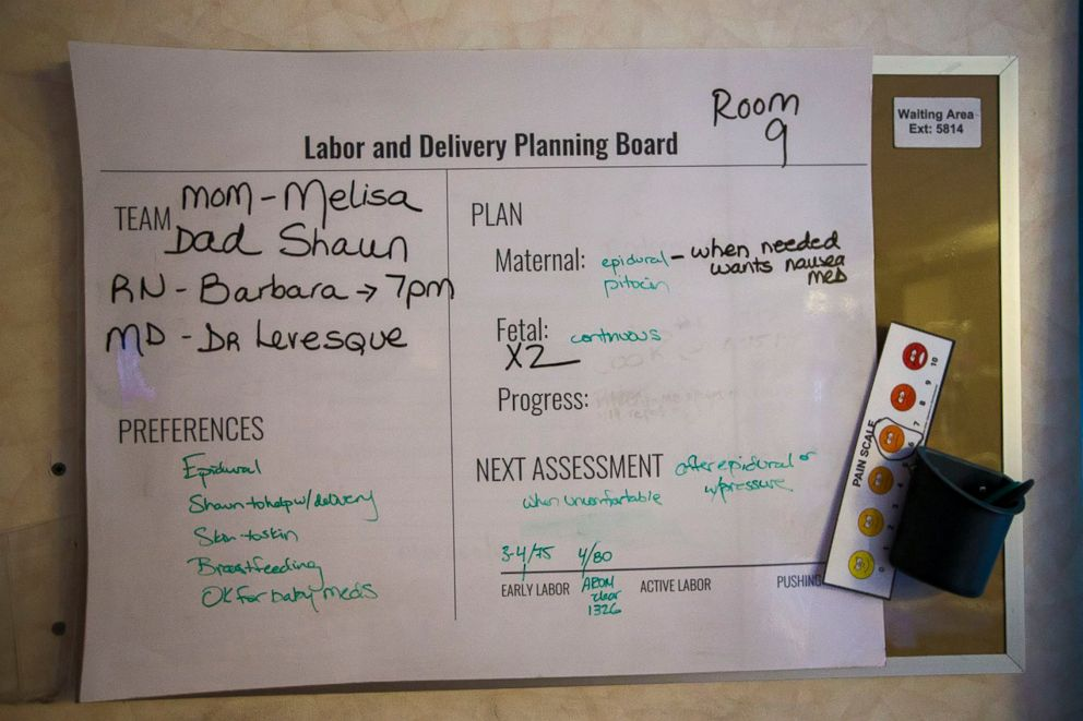 PHOTO: The whiteboard in Melisa McDougalls hospital room details the birth plan, including her preferences and the medical teams guidance.