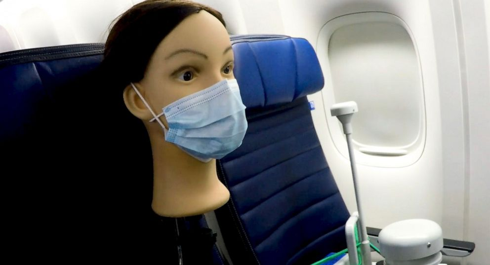 PHOTO: The U.S. Department of Defense published a study Wednesday on cabin airflow that found when a passenger is seated and wearing a mask, only 0.001% of infected air particles could enter their breathing zone.