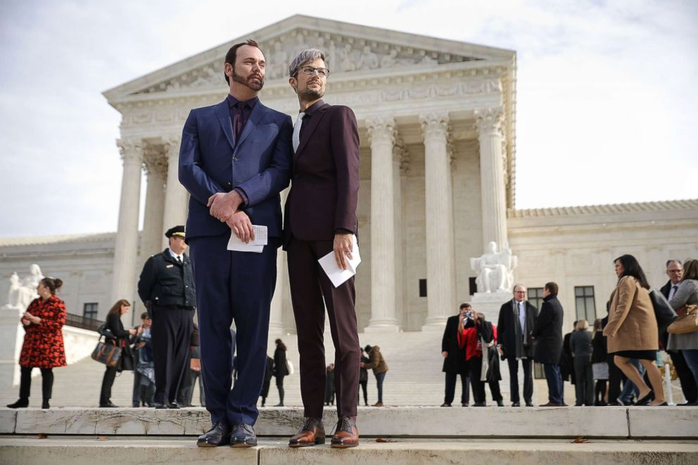 PHOTO: From left, David Mullins and Charlie Craig outside the the U.S. Supreme Court, Dec. 5, 2017 in Washington, D.C. The couple filed a complaint after baker Jack Phillips refused to sell them a wedding cake for their same-sex ceremony.