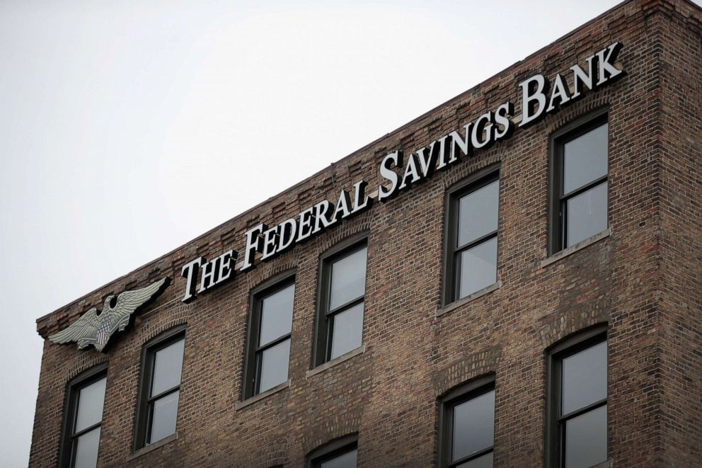 PHOTO:A sign hangs above the headquarters of The Federal Savings Bank, Feb. 23, 2018, in Chicago.