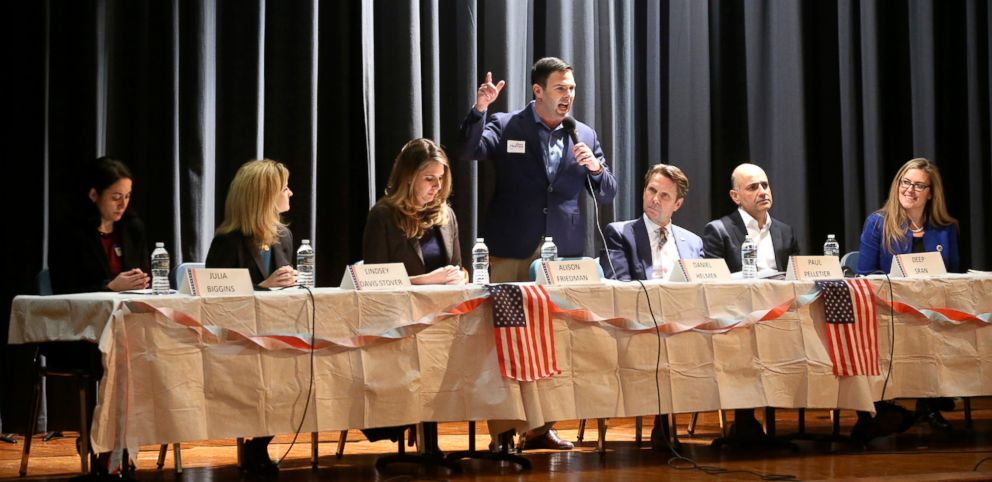 PHOTO: Candidates running in the Democratic primary for the Virginia 10th Congressional District seat participate in a candidates forum, Feb. 17, 2018, at James Wood Middle School in Winchester, Va.