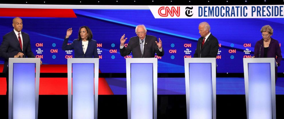 PHOTO: Democratic presidential hopefuls speak during the fourth Democratic primary debate at Otterbein University in Westerville, Ohio, Oct. 15, 2019.