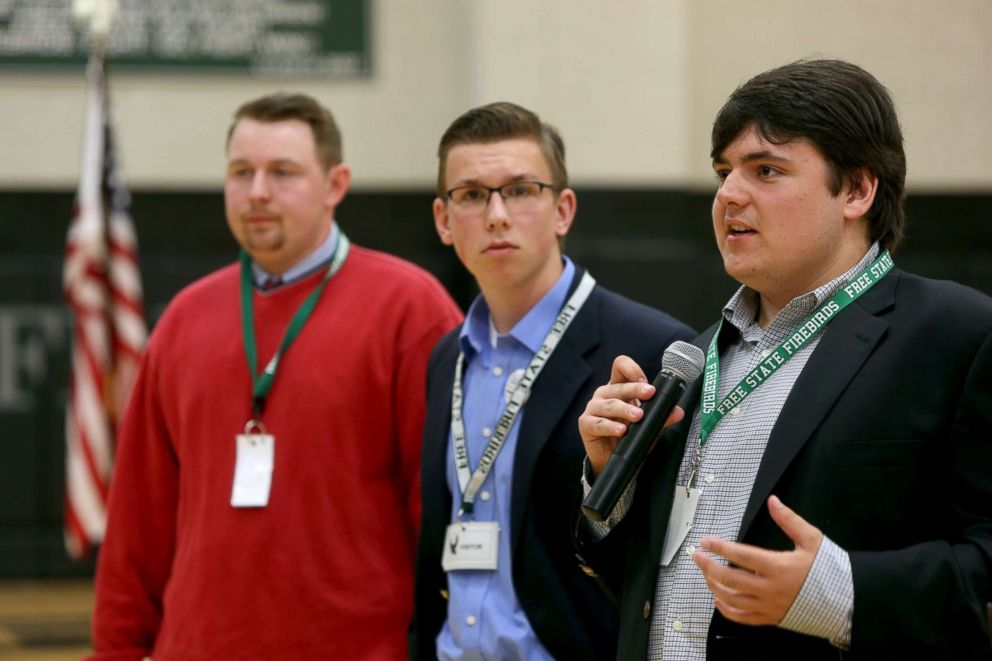 PHOTO: Jack Bergeson, 16, of Wichita, Kansas speaks during a forum with some of the four teenage candidates for Kansas Governor at Free State High School in Lawrence, Kansas, Oct. 19, 2017, joined by Ethan Randleas, 17, of Wichita.