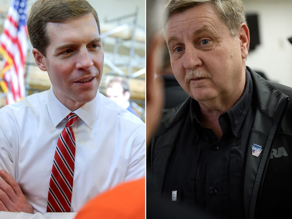 PHOTO:Conor Lamb talks with supporters at a rally, March 6, 2018 at the Union Carpenters Training Center in Pittsburgh. Rick Saccone meets with supporters at the VFW Post 4793 while campaigning, March 5, 2018, in Waynesburg, Penn.