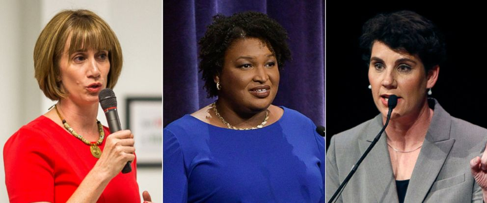 PHOTO: Democratic candidate for Congress in Texas, Laura Moser. Georgia Democratic gubernatorial candidate Stacey Abrams debates in Atlanta. Lt. Col. Amy McGrath speaks during a debate in Lexington, Ky., April 18, 2018.