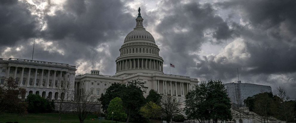 PHOTO: Morning clouds cover Capitol Hill in Washington, Friday, April 12, 2019, as Congress leaves for a two week recess. (AP Photo/J. Scott Applewhite)