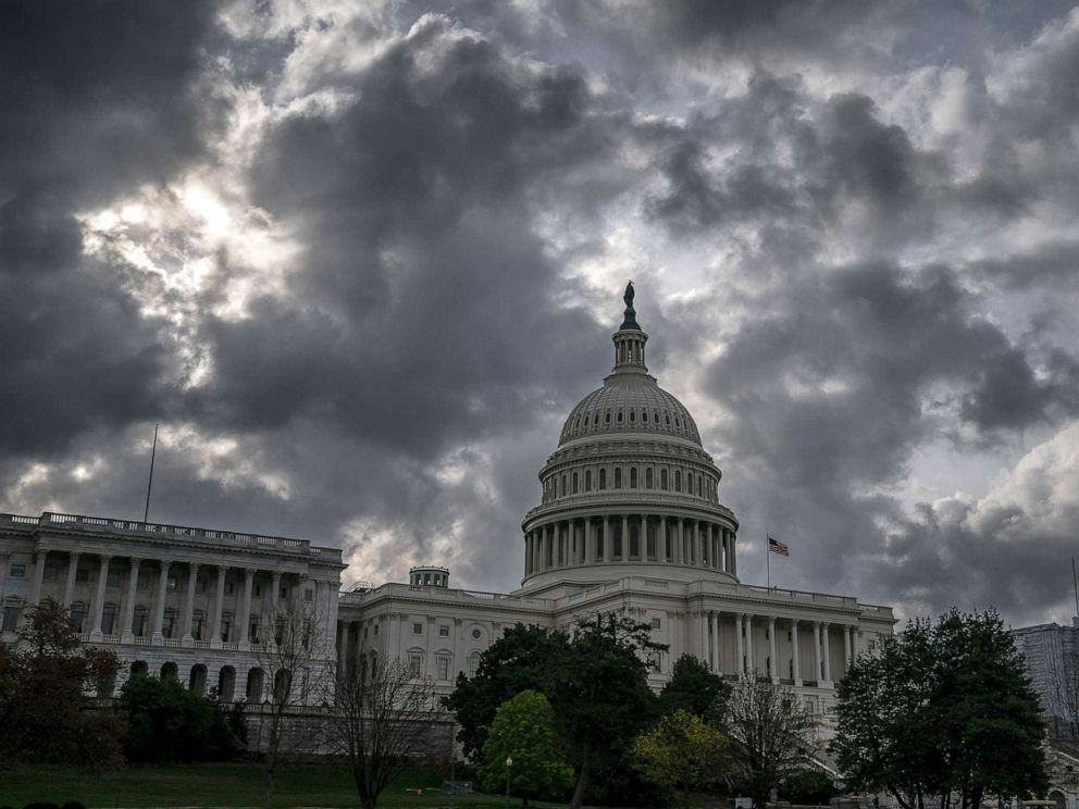 PHOTO: Morning clouds cover Capitol Hill in Washington, Friday, April 12, 2019, as Congress leaves for a two week recess.