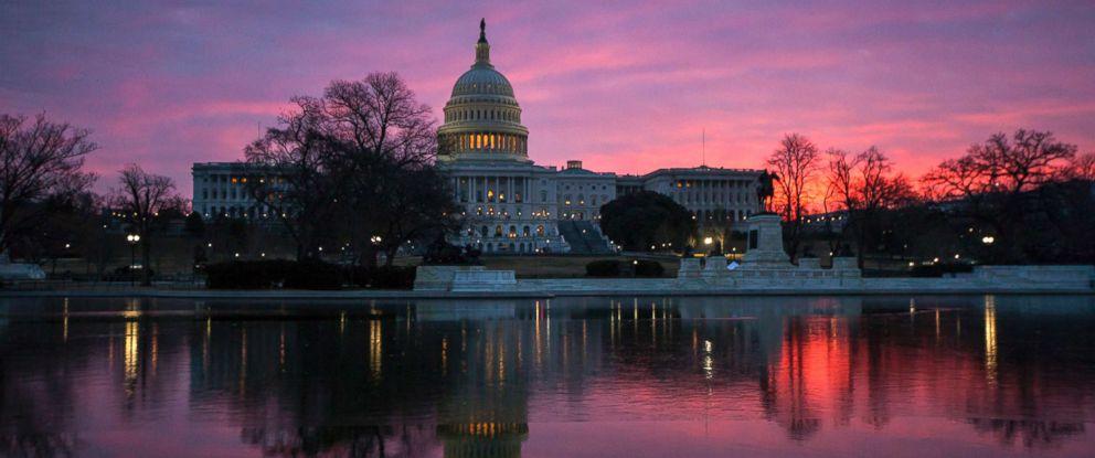 PHOTO: Dawn breaks over the Capitol in Washington, D.C., Feb. 6, 2018.