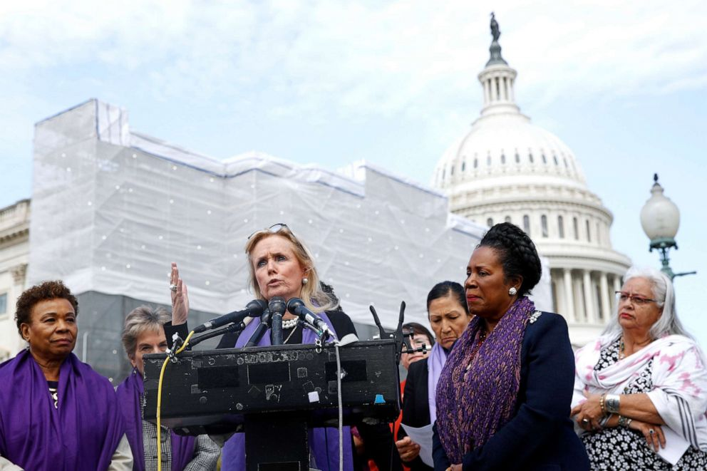 PHOTO: Rep. Debbie Dingell speaks as Rep. Barbara Lee and Rep. Sheila Jackson Lee, second from right, listen at a news conference after the House voted to reauthorize the Violence Against Women Act, Thursday, April 4, 2019, on Capitol Hill in Washington.
