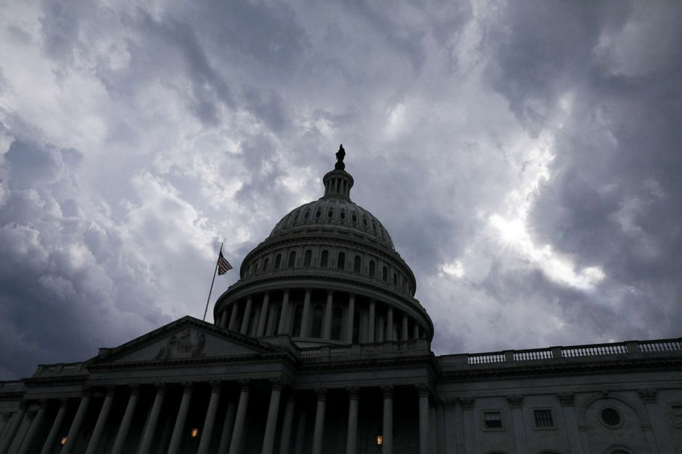 PHOTO: Storm clouds pass over the U.S. Capitol dome in Washington, D.C., June 17, 2019.