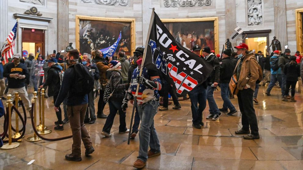 PHOTO: Supporters of President Donald Trump roam under the Capitol Rotunda after invading the Capitol building on Jan. 6, 2021, in Washington, D.C.