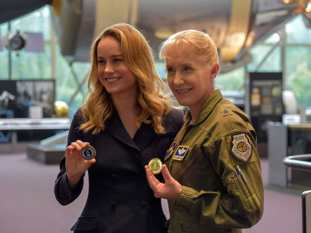 PHOTO: Actress Brie Larson poses for a photo with Brig. Gen. Jeannie Leavitt at the National Air and Space Museum, Smithsonian Institution in Washington, Sept. 18, 2018.