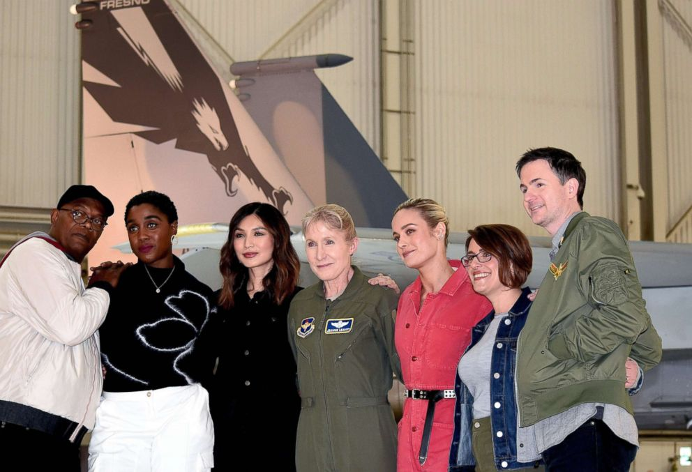 PHOTO: Captain Marvel cast members Samuel L. Jackson, Lashana Lynch, Gemma Chan and Brie Larson, along with directors Ryan Fleck and Anna Boden, take a photo with Gen. Jeannie Leavitt at Edwards Air Force Base, Calif., Feb. 20, 2019.