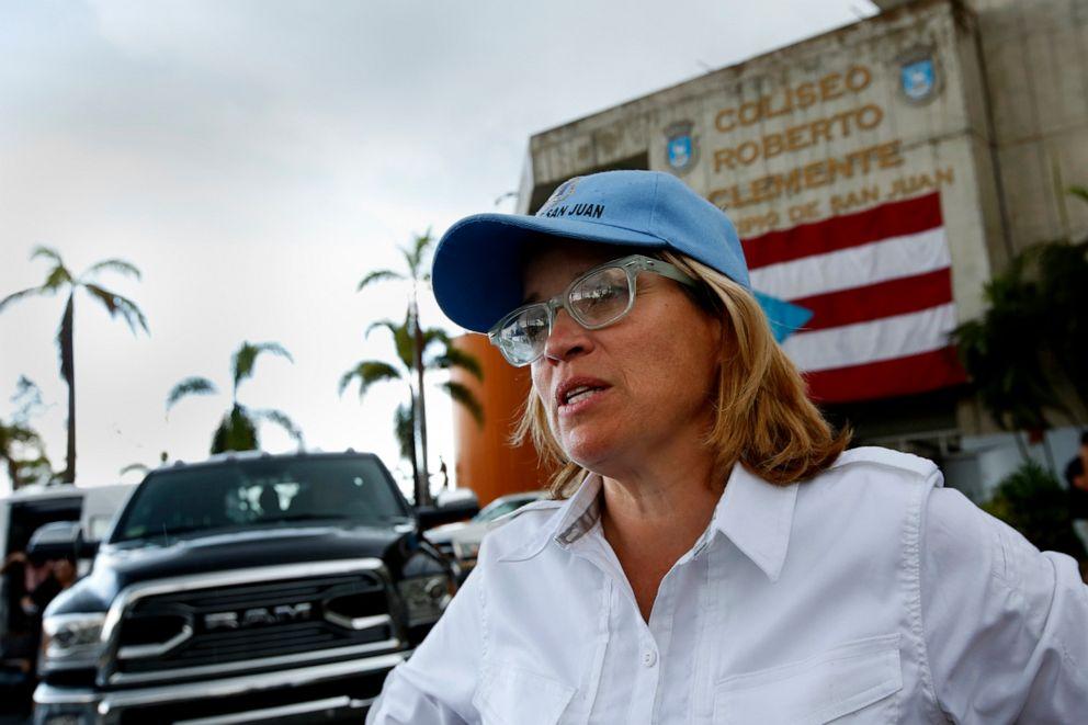 PHOTO: San Juan mayor Carmen Yulin Cruz talks to the media in San Juan, Puerto Rico, Oct. 2, 2017.