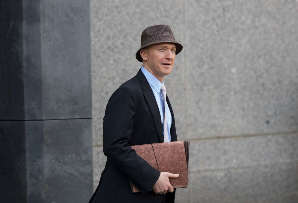 PHOTO: Carter Page arrives at the at the United States District Court Southern District of New York on the same day as a hearing regarding Michael Cohen, longtime personal lawyer and confidante for President Donald Trump, April 16, 2018, in New York.
