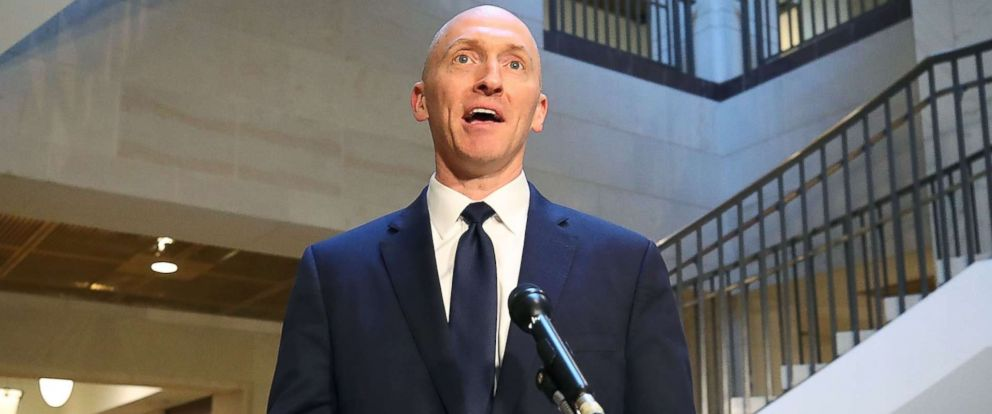 PHOTO: Carter Page, a former foreign policy adviser for the Trump campaign, speaks to the media after testifying before the House Intelligence Committee, Nov. 2, 201,7 in Washington, DC.