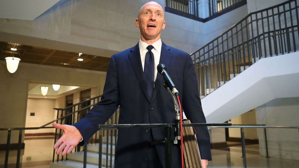Carter Page, a former foreign policy adviser for the Trump campaign, speaks to the media after testifying before the House Intelligence Committee, Nov. 2, 201,7 in Washington, DC.