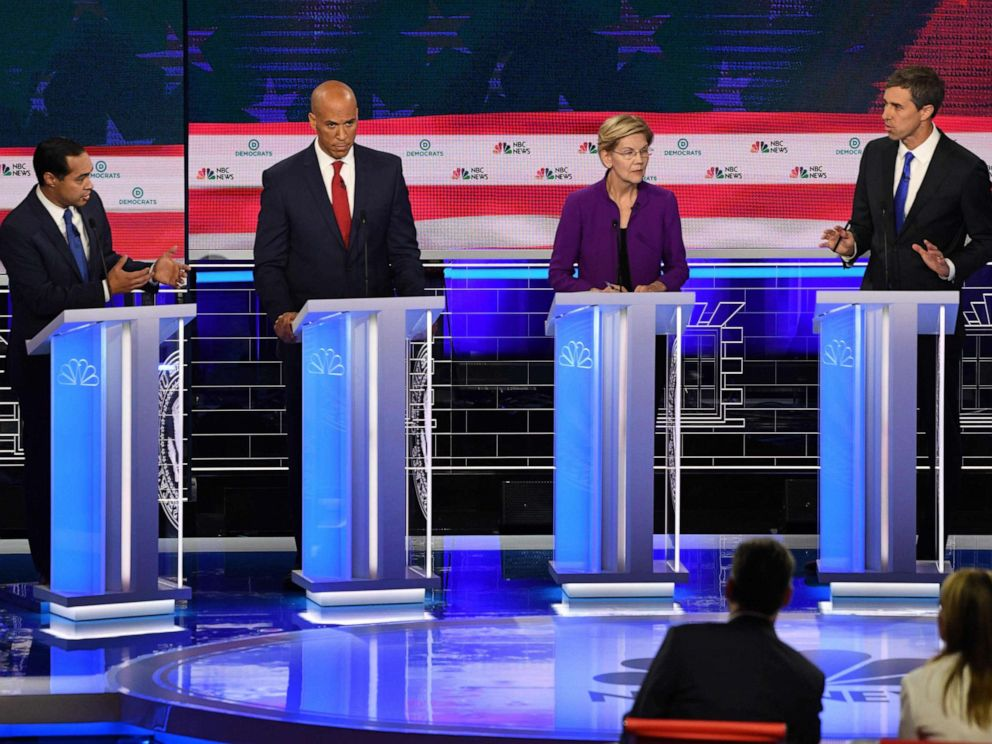 PHOTO: Julian Castro, Cory Booker, Elizabeth Warren and Beto ORourke participate in the first Democratic primary debate hosted by NBC News at the Adrienne Arsht Center for the Performing Arts in Miami, Florida, June 26, 2019.