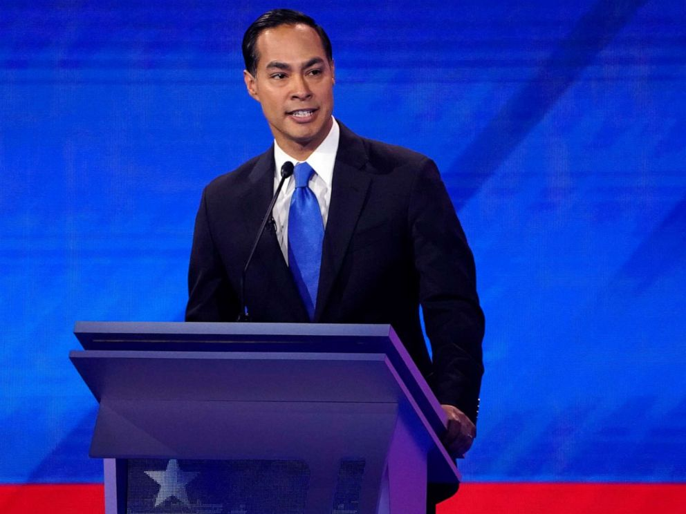 PHOTO: Former Housing Secretary Julian Castro speaks during the 2020 Democratic presidential debate in Houston, Sept. 12, 2019.