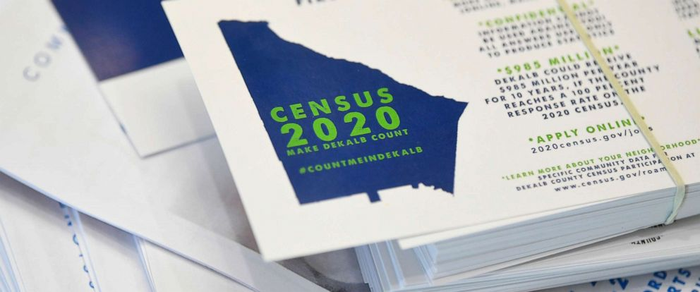 PHOTO: In this Aug. 13, 2019, file photo, a worker gets ready to pass out instructions in how fill out the 2020 census during a town hall meeting in Lithonia, Ga.