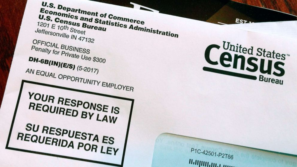 An envelope containing a 2018 census letter mailed to a U.S. resident as part of the nation's only test run of the 2020 Census, March 23, 2018.