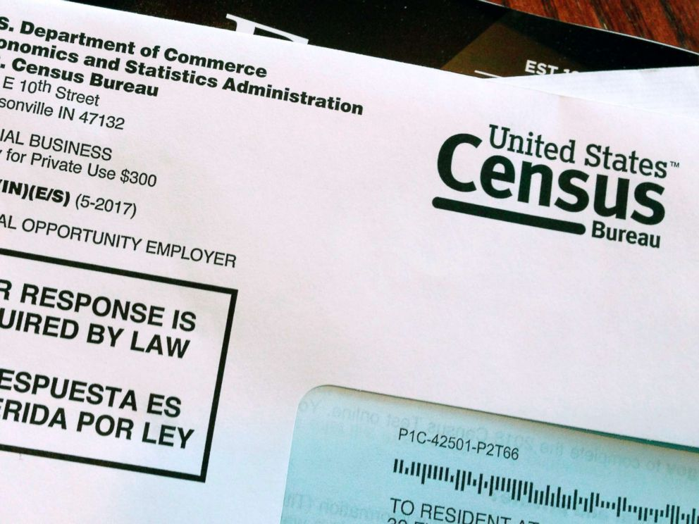 PHOTO: An envelope containing a 2018 census letter mailed to a U.S. resident as part of the nations only test run of the 2020 Census, March 23, 2018.
