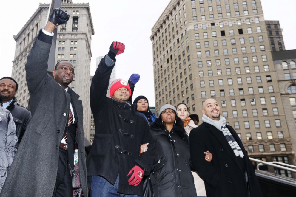PHOTO: Yusef Salaam, left, Kevin Richardson, second left, and Raymond Santana, right, react to supporters in New York, Jan. 17, 2012. The three men who were exonerated in the 1989 Central Park Jogger case.