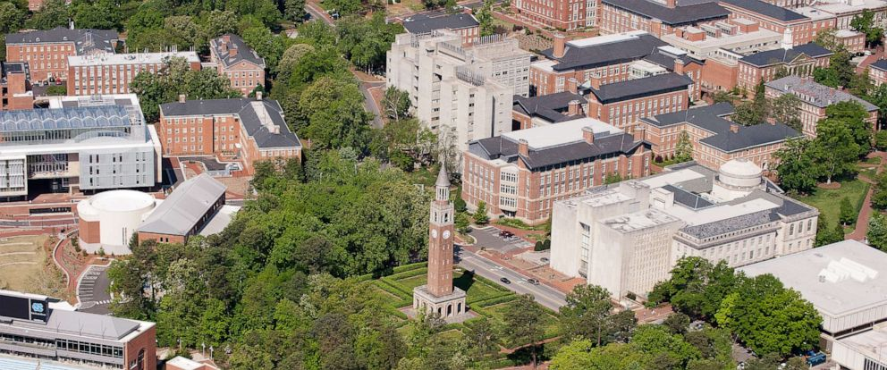 PHOTO: An aerial view of the University of North Carolina campus including the Morehead-Patterson Bell Tower (center) on April 21, 2013 in Chapel Hill, North Carolina.