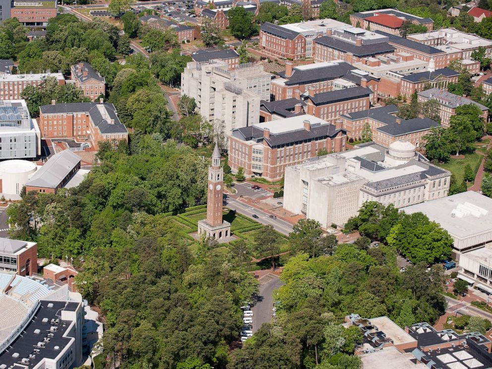 religion PHOTO: An aerial view of the University of North Carolina campus including the Morehead-Patterson Bell Tower (center) on April 21, 2013 in Chapel Hill, North Carolina.