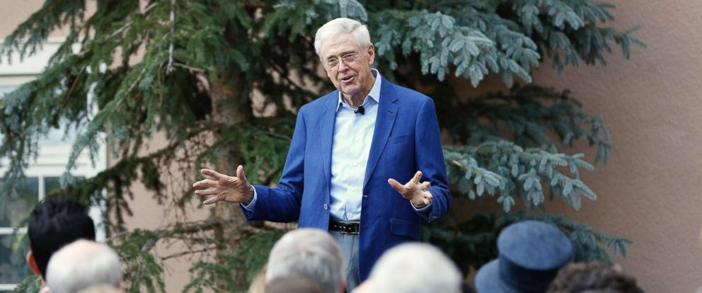 PHOTO: Charles Koch delivers remarks at a biannual donor meeting of the Koch network at the Broadmoor resort in Colorado Springs, Colo., July 28, 2018.