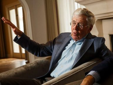 PHOTO: Charles Koch talks during an interview with the Washington Post at the Freedom Partners Summit on Monday, Aug. 3, 2015 in Dana Point, Calif.