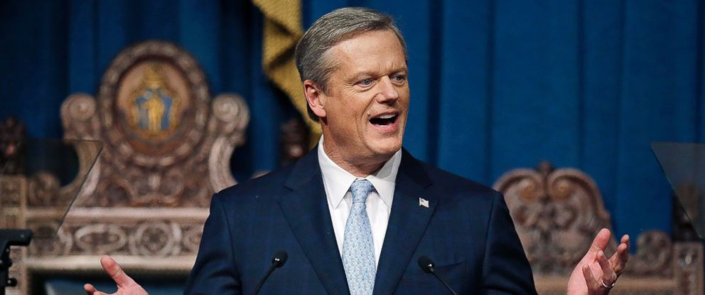 In this Jan. 23, 2018 file photo, Massachusetts Gov. Charlie Baker delivers his state of the state address in the House Chamber in Boston