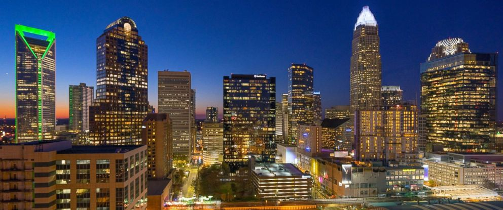 PHOTO: Charlotte, North Carolina skyline at night.