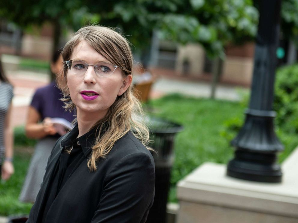 PHOTO: Former military intelligence analyst Chelsea Manning speaks to the press ahead of a Grand Jury appearance about WikiLeaks, in Alexandria, Va., May 16, 2019