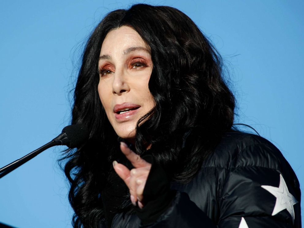 PHOTO: Cher speaks during the Womens March Power to the Polls voter registration tour, Jan. 21, 2018, in Las Vegas.