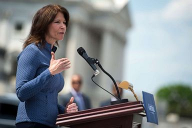 PHOTO: Rep. Cheri Bustos, Co-Chair of the Democratic Policy and Communications Committee, speaks outside the Capitol during A Better Deal for Our Democracy press conference hosted by House and Senate Democrats, May 21, 2018.