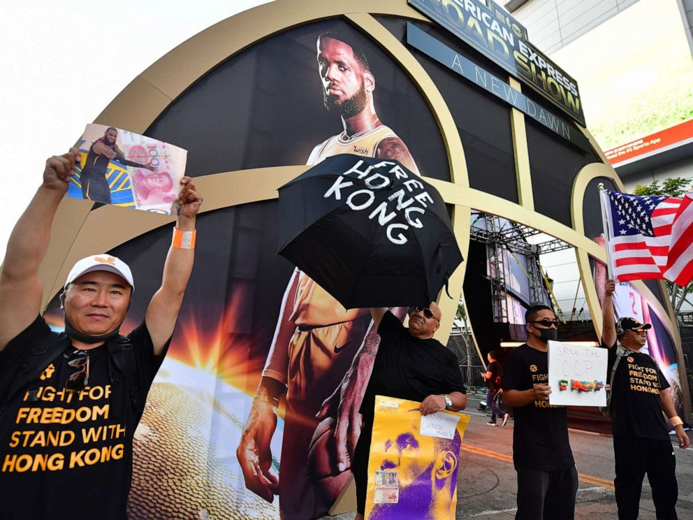 PHOTO: Hong Kong supporters protest outside Staples Center ahead of the Lakers vs Clippers NBA season opener in Los Angeles, Oct. 22, 2019.
