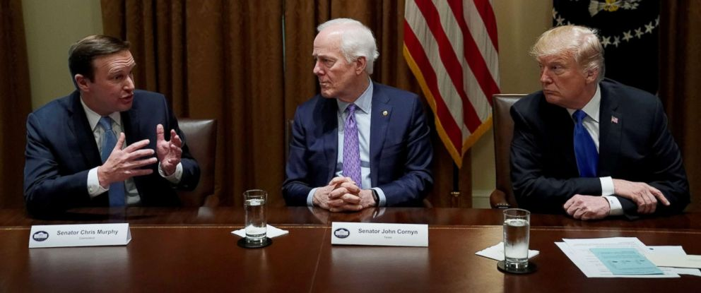 PHOTO: Pictured (L-R) are Sen. Chris Murphy, Sen. John Cornyn and President Donald Trump during a bi-partisan meeting with members of Congress to discuss school and community safety at the White House in Washington, D.C., Feb. 28, 2018.