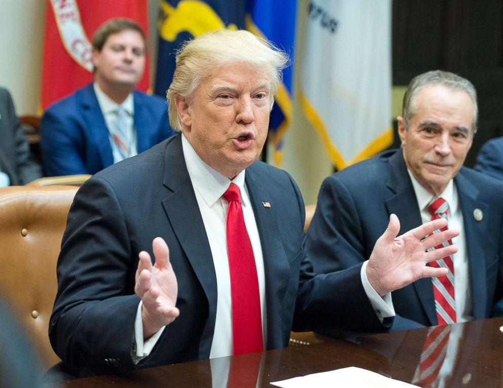 PHOTO: President Donald Trump and Rep. Chris Collins participate in a congressional listening session with GOP members in the Roosevelt Room of the White House on Feb. 16, 2017 in Washington.