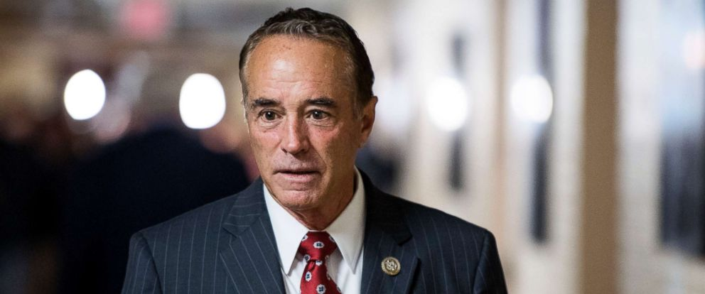 PHOTO: Rep. Chris Collins leaves the House Republican Conference meeting in the Capitol, June 20, 2018.