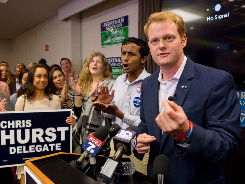 PHOTO: Democrat Chris Hurst, right, defeated Republican incumbent Joseph Yost to win House District 12 on Tuesday, Nov. 7, 2017, in Blacksburg, Va.
