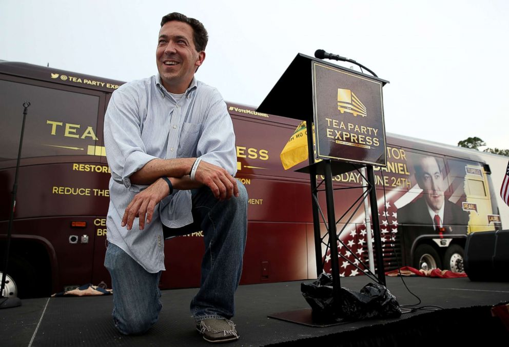 PHOTO: Republican candidate for U.S. Senate, Mississippi State Sen. Chris McDaniel looks on during a Tea Party Express campaign event at outside of a Hobby Lobby store on June 22, 2014 in Biloxi, Mississippi.