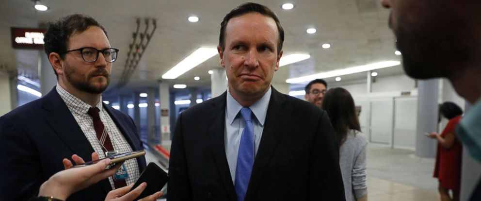 PHOTO: Sen. Chris Murphy speaks with reporters ahead of the weekly policy luncheons at the U.S. Capitol on June 26, 2018 in Washington, D.C.