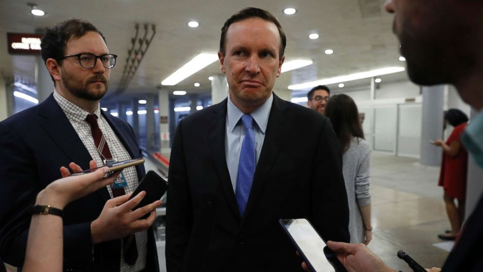 Sen. Chris Murphy speaks with reporters ahead of the weekly policy luncheons at the U.S. Capitol on June 26, 2018 in Washington, D.C.