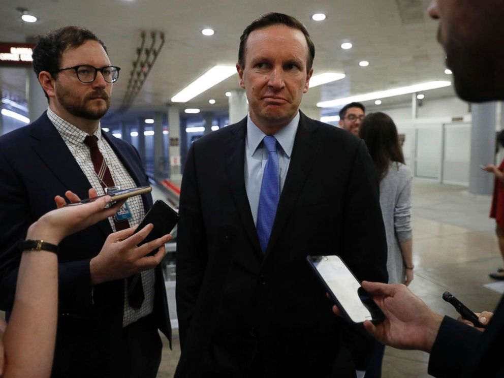 PHOTO: Sen. Chris Murphy speaks with reporters ahead of the weekly policy luncheons at the U.S. Capitol, June 26, 2018, in Washington.