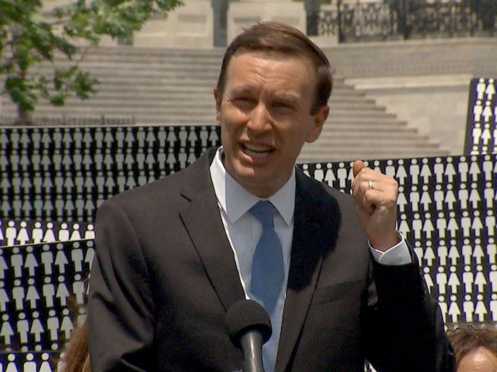 PHOTO: Senator Chris Murphy holds a press conference, Aug. 23, 2019.