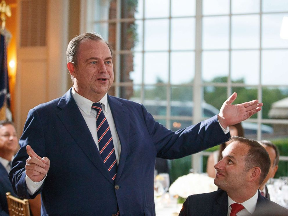 PHOTO: Newsmax CEO Chris Ruddy speaks during a dinner meeting with President Donald Trump and other business leaders, Aug. 7, 2018, at Trump National Golf Club in Bedminster, N.J.