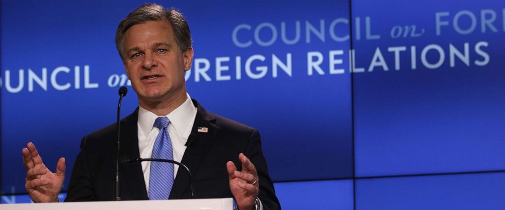 """PHOTO: FBI Director Christopher Wray addresses the Council on Foreign Relations (CFR) April 26, 2019 in Washington, D.C. Wray spoke on """"the FBIs role in protecting the United States from todays global threats."""""""
