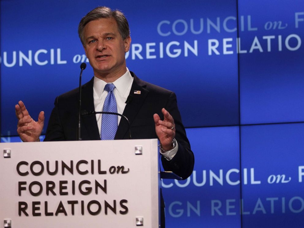 PHOTO: FBI Director Christopher Wray addresses the Council on Foreign Relations (CFR) April 26, 2019 in Washington, D.C. Wray spoke on the FBIs role in protecting the United States from todays global threats.